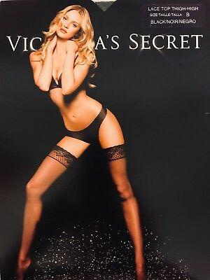 Victoria's Secret Stay Up Lace Top Black White Stockings Pantyhose Free Shipping