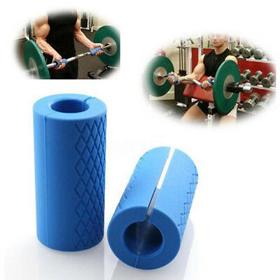 """2X 14"""" Thick Barbell Silicone Grips Gym Arm Wrap Bar Muscle Training Yoga Tool"""