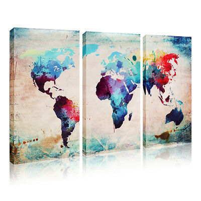 Wall Mount Unframed Canvas Print World Map Home Decor Art Painting Picture