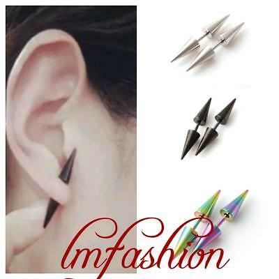 Cool Gothic Punk Stainless Steel Unisex Women Men Rock Rivet Spike Stud Earrings