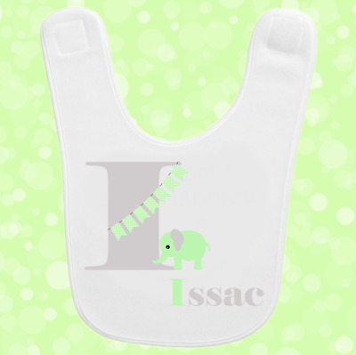 Personalised Custom Baby Toddler Bib Gift Present Any Name Initial Elephant 3