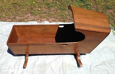 Antique Wood Baby Crib Cradle - Rocking - Very Nice - Usable - 100 year old 18C?
