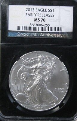 2012 American Eagle Silver Dollar NGC MS 70 Early Releases Retro Holder #2231