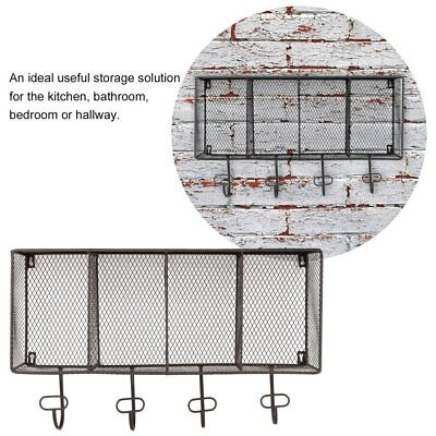 Industrial Style Metal Wall Mounted Unit Rack Coat Hooks Storage Basket 4 Grids