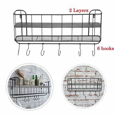Vintage Industrial Style Metal Wall Shelf Unit Rack Coat Hooks Storage Display D