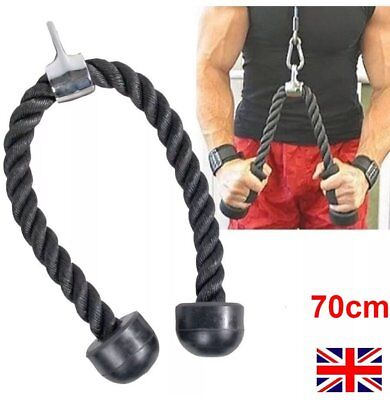 70cm Tricep Rope Multi Gym Lat Push Pull Down Cord Bodybuilding AttachmentCables