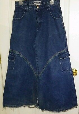 Menace Girls Jeans Super Baggy 30 inch Bottom Mammoth Pipes Pants Blue Denim