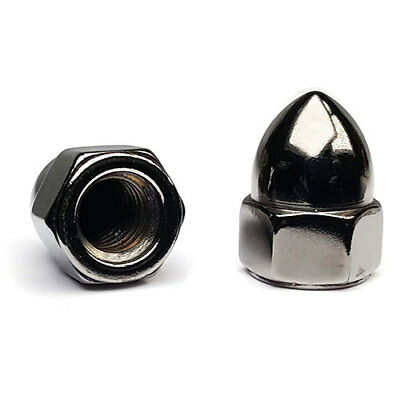 "Black Chrome Steel High Crown Cap Acorn Nuts USA Made - #10-24 to 5/8""-18 QTY 10"