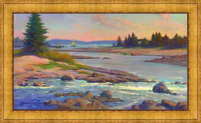 MT. DESERT ISLAND Maine Framed Oil Painting on 18x32 Giclee Canvas **SALE