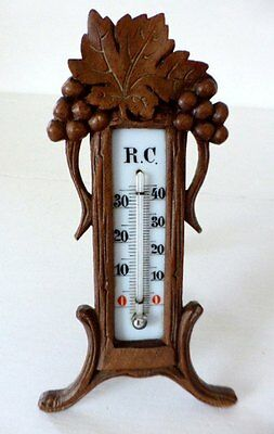 Antique French Hand Carved Wood Stand and Thermometer ~  Réaumur and Celsius