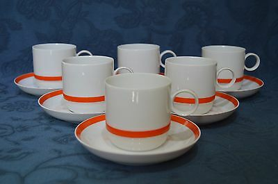 Rosenthal Electric - Orange Band Set of Six Coffee Cup and Saucer (C)