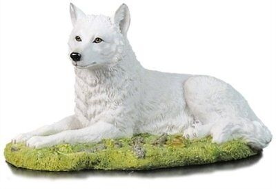 "8.75"" White Wolf Resting Nature Wildlife Animal Statue Collectible Wild Figure"