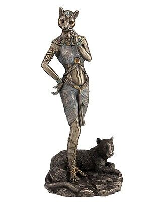 "11.75"" Egyptian Goddess Bastet w/ Panther Sculpture Ancient Egypt Statue Pagan"