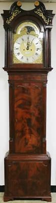 Antique English Regency Flame Mahogany Musical 8 Bell Grandfather Longcase Clock