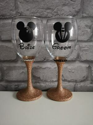 Disney Inspired Set of Wedding Glasses