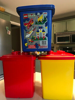 VINTAGE LEGO STORAGE Containers Red Blue Yellow 1993 Handled Buckets
