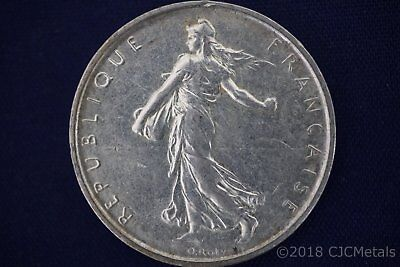 1964 France 5 Francs Silver Coin Five Franc - 83.5% Silver - Tarnishing/Spotting