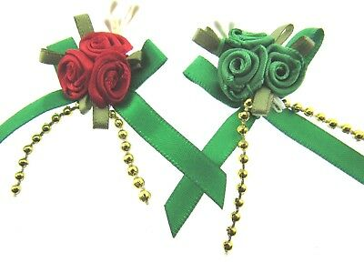 ** Ribbon Bows with Assorted Emerald / Red Cluster and Gold Beads 534-13P