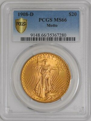 1908-D $20 Saint Gaudens Motto MS66 Secure Plus PCGS