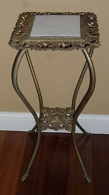 Antique Victorian Cast Iron & Brass Gilt Filigree 2 Tier Plant Stand