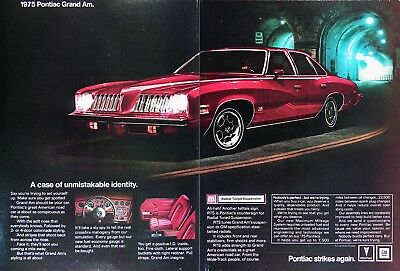 1975 PONTIAC GRAND AM Genuine Vintage Ad ~ Full Color 2 Page Ad