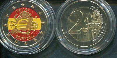 SPANIEN 2012 - 2 Euro in Farbe, coloured - 10 Jahre Euro Bargeld