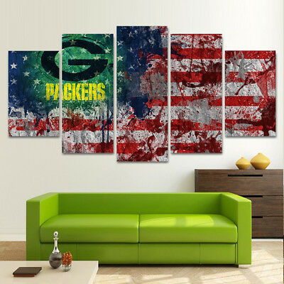 Framed 5Pcs Green Bay Packers Flag Canvas Oil Print Painting Wall Art Home Decor