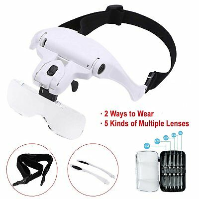 Headband Magnifier 1-3.5X Magnifying Glass Lens with 2 LED Light Hands Free Loup