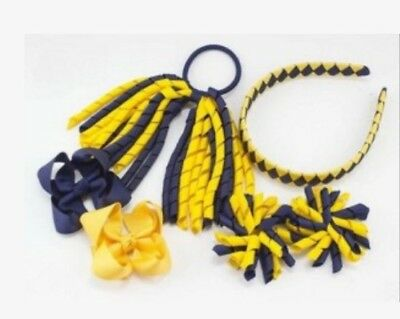 6 BLESSING Good Girl Corker Hairbow Ponytail Streamers Bow Elastic Clip