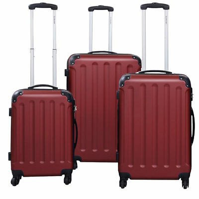 3 PCS Wine Luggage Set Bag Trolley Hard Shell Travel Suitcase Wheels Handle Lock