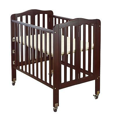 Attirant Brown Wooden Portable Crib With Safety Casters Folding 3 Position Mattress  Bed