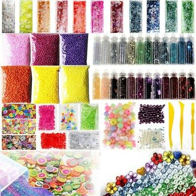 55 Pack Slime Beads Charms, Include Fishbowl beads, Foam Balls, Glitter Jar L6F6