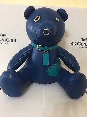 Coach Teddy Bear Ace Limited Edition Collectible Blue Leather New & Gift Receipt