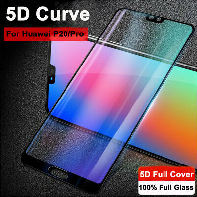 For Huawei P20 Pro/Lite Real 5D Curved Temper Glass Screen Protector Guard Film