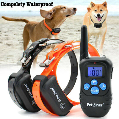 Petrainer Waterproof Rechargeable Electric Remote 2 Dogs Shock Training Collar