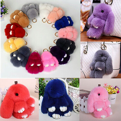 Adorable Fur Bunny Fluffy Rabbit Plush Toy Keyring Bag Charm Pendant Keychain AU