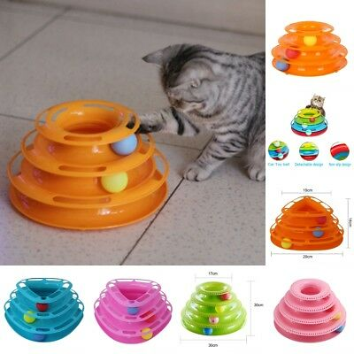 Pet Cat Kitten Interactive Crazy Ball Disk Amusement Game Trilaminar Toy Tower