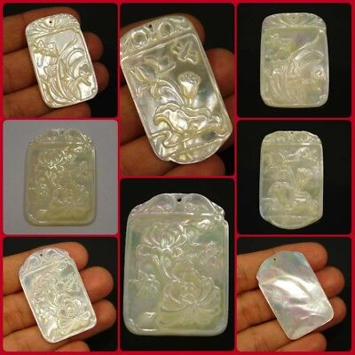 100% Natural Mother of Pearl Drilled Rectangle Shape Flower Carve BBBD5-12