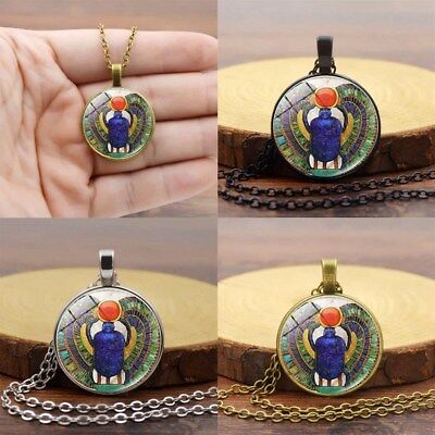 Glass Egyptian Scarab pendant, ancient egypt jewelry, Egypt Necklace