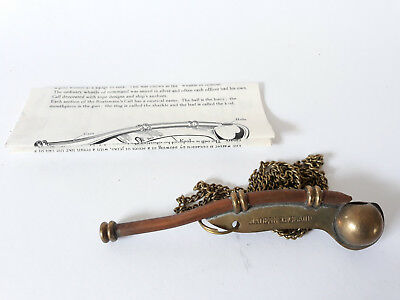 Royal Navy Bosuns Whistle, Boatswains Call, Messing, mit Anleitung