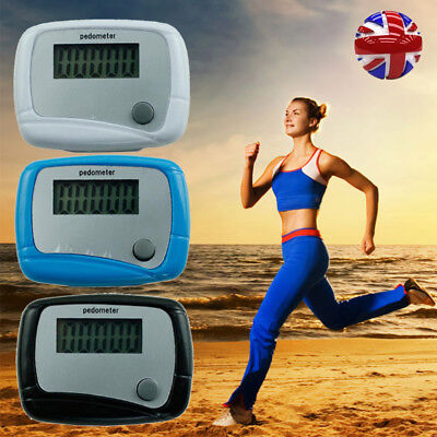 LCD Pedometer Hip Clip Step Walking Jog Hiking Calorie Counter Distance Fitness