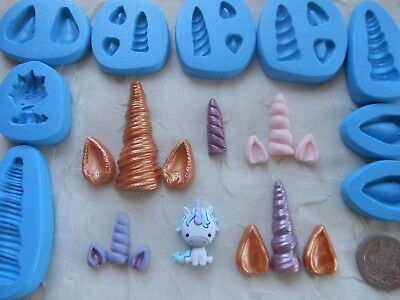 Sugarcraft/Fimo MOULD/s: UNICORN Horn & Ears - Choice of Sizes Available