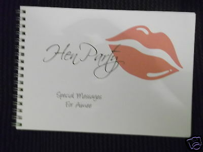 Personalised Birthday Hen Party Keepsake Message / Guest Book - Lips