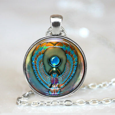 Egyptian Scarab Pendant, Scarab Art Necklace, Scarab Jewelry, Beetle Art,(Silver