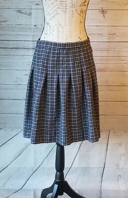 Dennis Uniform Girls pleated skirt  Gray and Navy blue yellow plaid size Large
