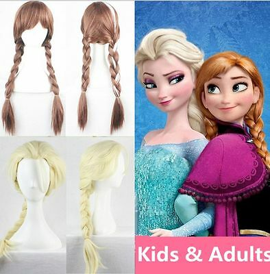 New Princess Elsa Anna Snow Queen Frozen Weaving Braid Cosplay Wig Kids Adult VG