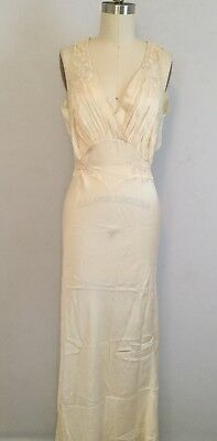Vintage 30s 40s Off White Lace Long Bias Cut Nightgown Slip Dress Wedding