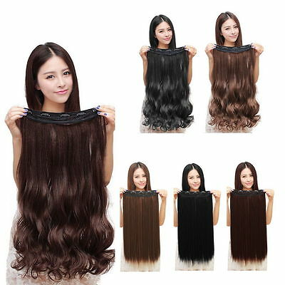 100% Natural 3/4 Full Head Clip In Hair Extensions Curly Wavy Straight Hair GH