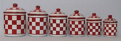 Antique Vintage French Enamel 6 Piece Canister Set ~ LUSTUCRU Red & White Check