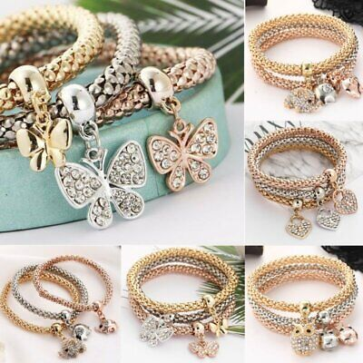 Women Girls 3Pcs/Set Gold Silver Rose Gold Bracelets Rhinestone Bangle Jewelry